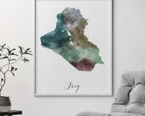 Iraq map print second