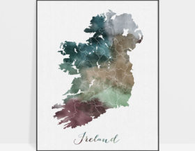 Ireland map poster watercolor