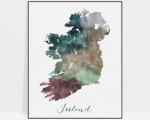 Ireland map poster watercolor