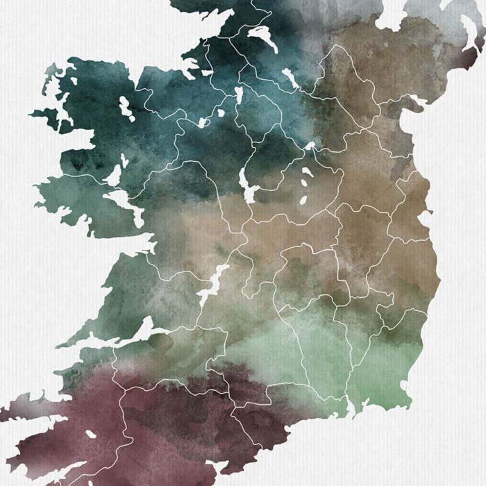 Ireland map poster watercolor detail