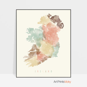 Ireland map print pastel