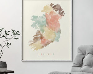 Ireland map print pastel second