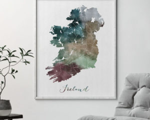 Ireland map poster watercolor second