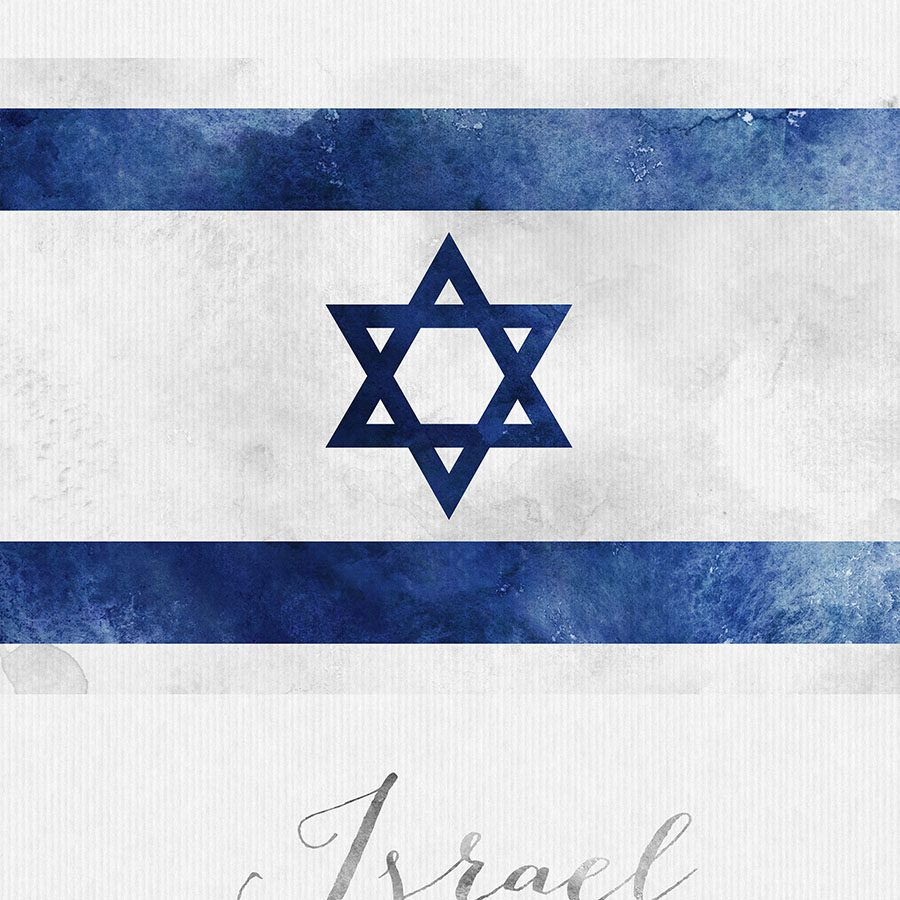 Israel flag art print detail