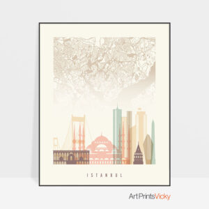 Istanbul map print poster pastel cream