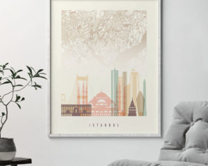 Istanbul map print poster pastel cream second