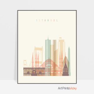 Istanbul art print skyline pastel cream