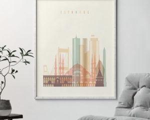 Istanbul art print skyline pastel cream second