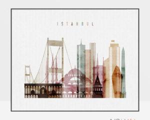 Istanbul skyline print watercolor 1 landscape