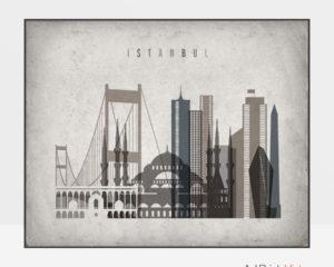 Istanbul art print landscape retro
