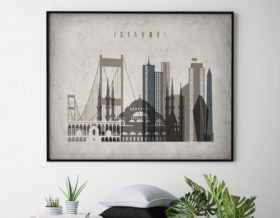 Istanbul art print landscape retro second
