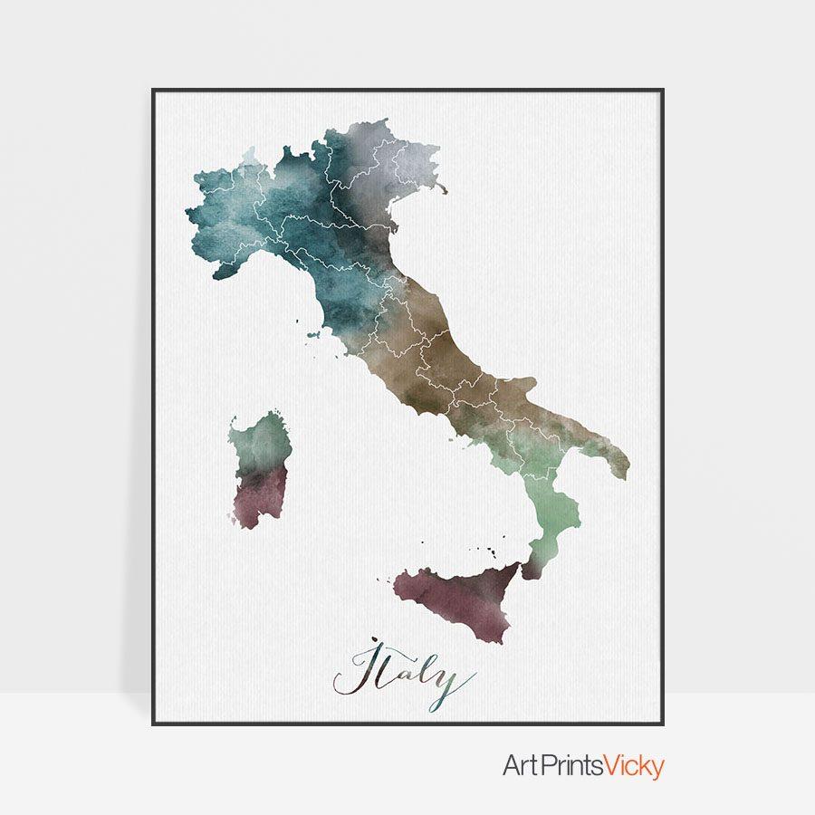 Italy map print