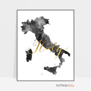Italy map black and white poster
