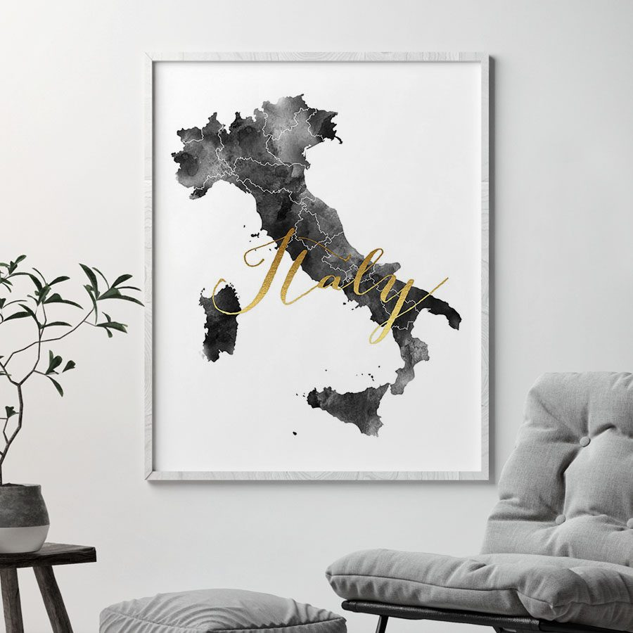 Italy map black and white poster second