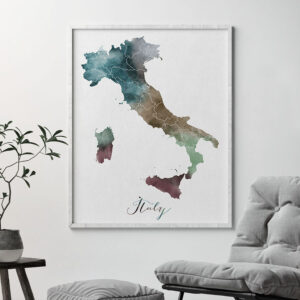Italy map print second