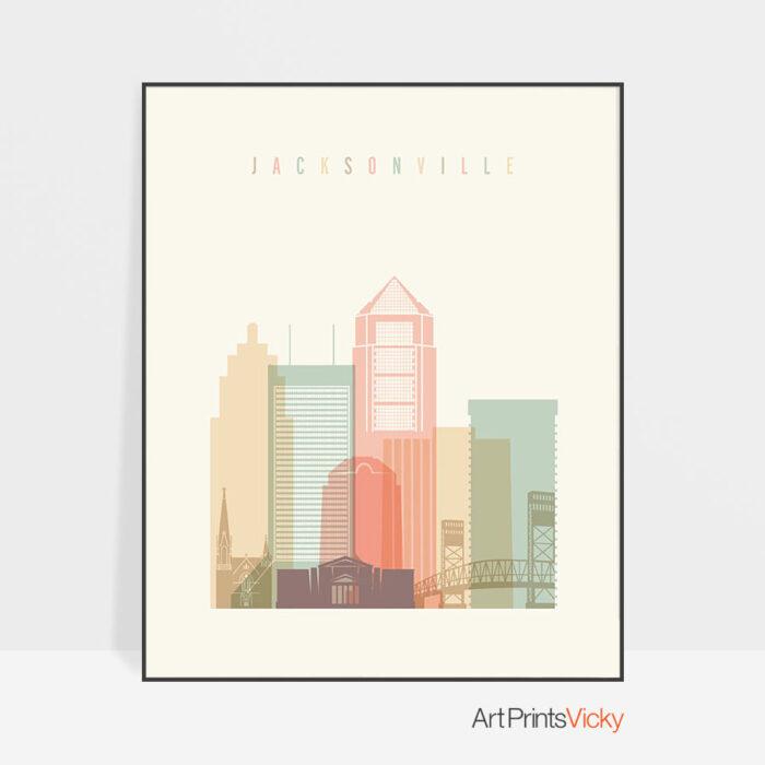 Jacksonville art print skyline pastel cream