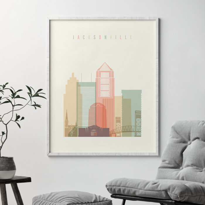 Jacksonville art print skyline pastel cream second