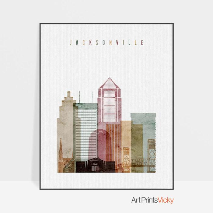 Jacksonville skyline poster watercolor 1