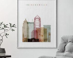 Jacksonville skyline poster watercolor 1 second
