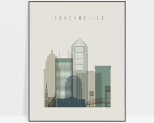 Jacksonville print skyline earth tones 1