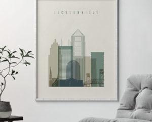Jacksonville print skyline earth tones 1 second