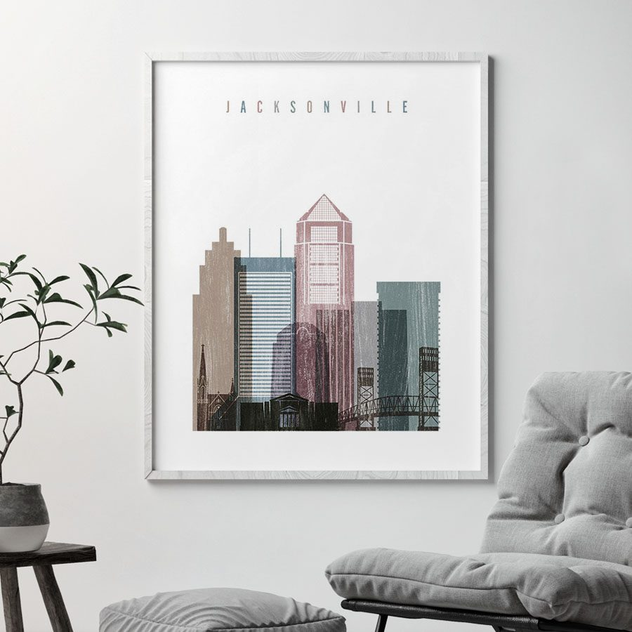 Jacksonville skyline poster distressed 1 second