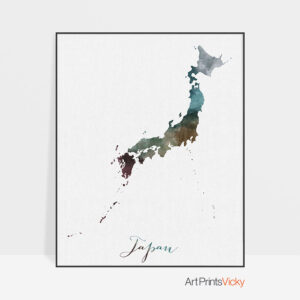 Japan map print