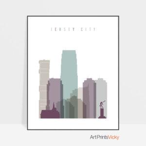 Jersey City skyline art pastel 2