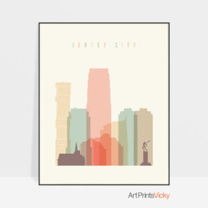 Jersey City art print skyline pastel cream