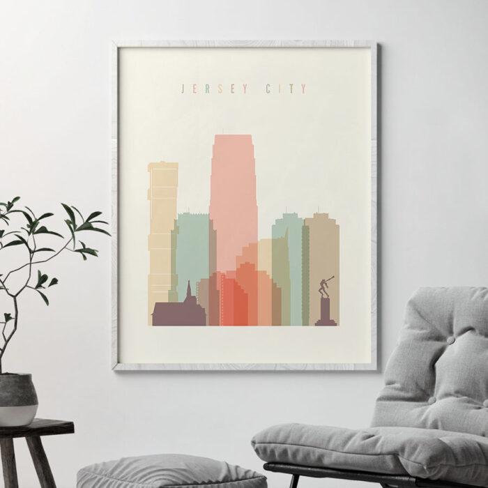 Jersey City art print skyline pastel cream second