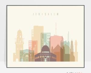 Jerusalem poster skyline pastel cream landscape