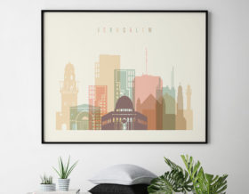 Jerusalem poster skyline pastel cream landscape second