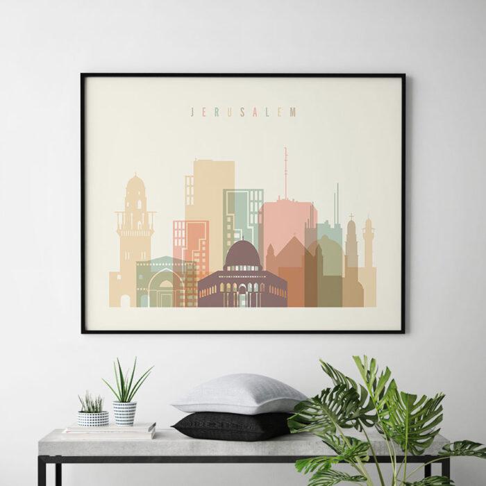 Jerusalem poster skyline pastel cream landscape second