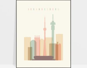 Johannesburg art print skyline pastel cream
