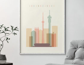 Johannesburg art print skyline pastel cream second