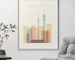Johannesburg art print skyline pastel cream second