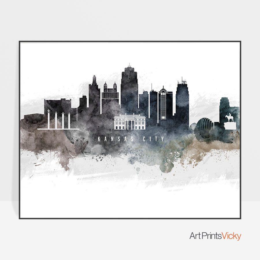Kansas city art poster watercolor