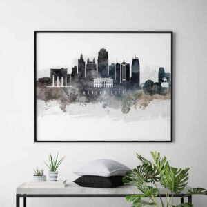 Kansas city art poster watercolor second