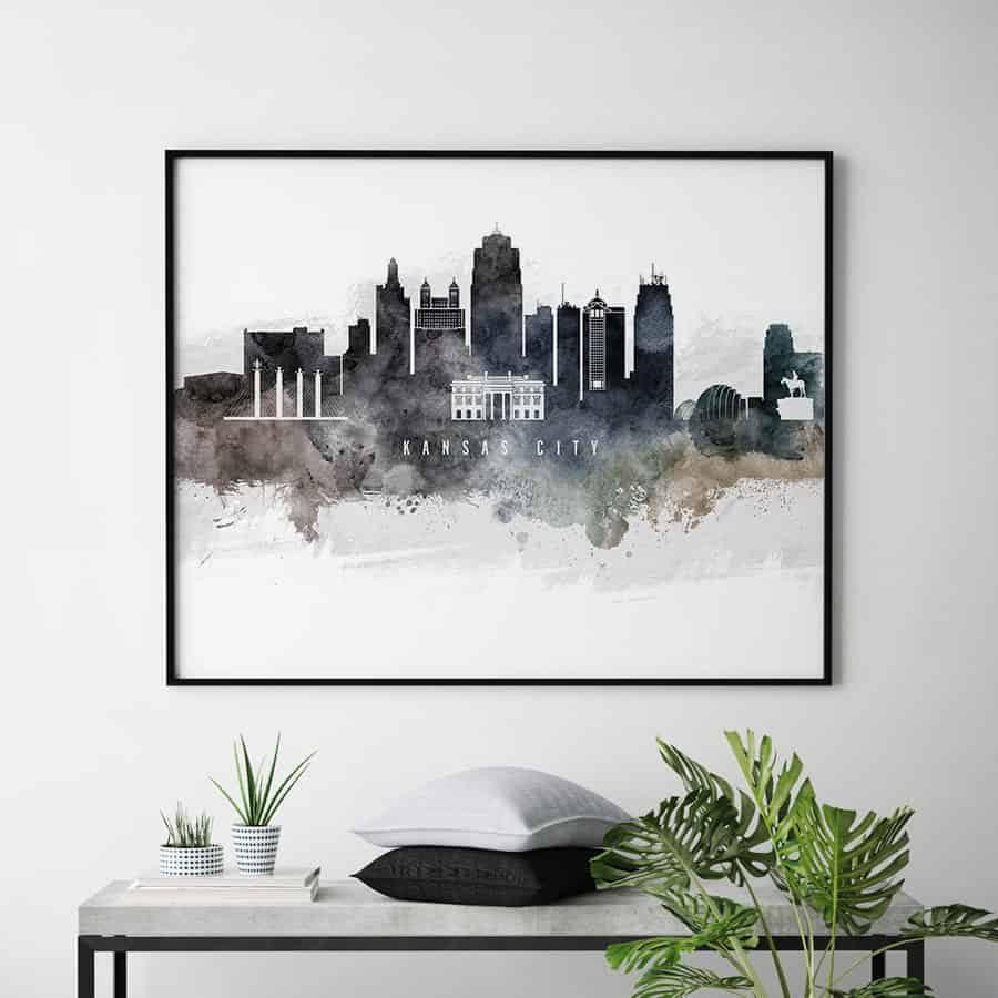 Kansas city art poster watercolor second