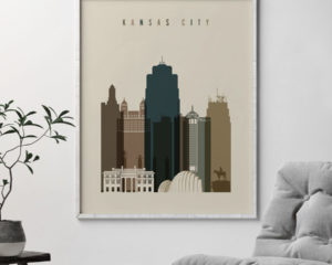 Kansas City art print earth tones 3 second