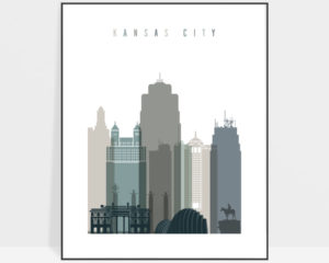 Kansas City art print skyline earth tones 4
