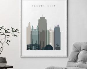 Kansas City art print skyline earth tones 4 second