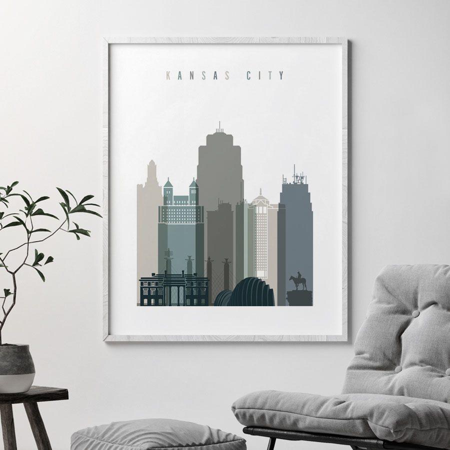 Kansas City art print skyline earth tones 4 second