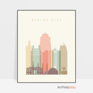 Kansas City wall art pastel cream