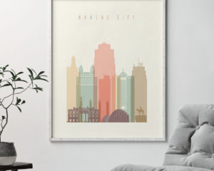 Kansas City wall art pastel cream second
