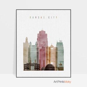 Kansas City skyline print watercolor 1