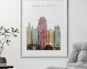 Kansas City skyline print watercolor 1 second