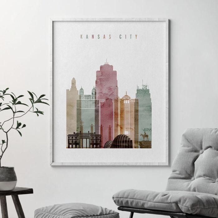 Kansas City skyline print watercolor 1 second