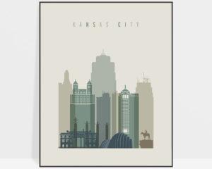Kansas City print skyline earth tones 1