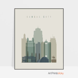 Kansas City print skyline earth tones 1